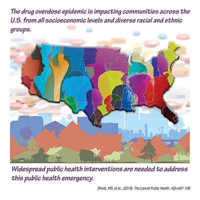 Colorful image of people spread across a U.S. map layered over pills with buildings representing rural, urban and suburban settings across the bottom