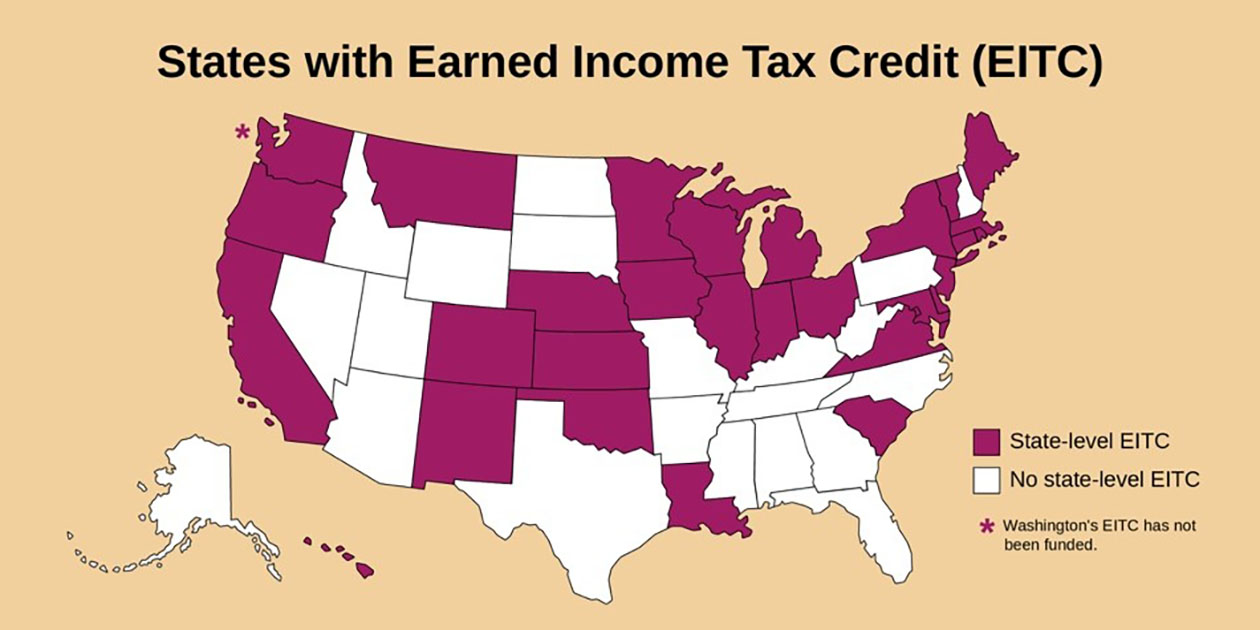 States with Earned Income Tax Credit (Eee Eye Tee See)						A map of the United States showing those states with state-level Eee eye tee see and those with no state-level eee eye tee see.	