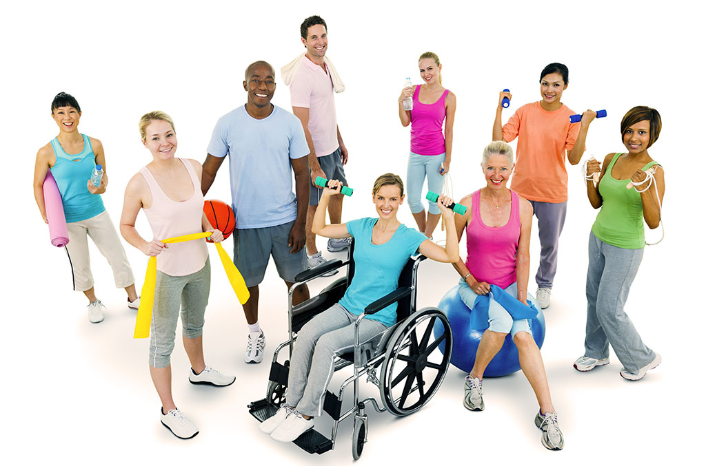 Diverse group of adults exercising